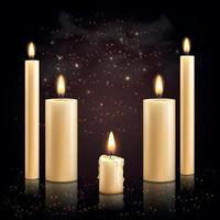 Candles Set Realistic Background vector
