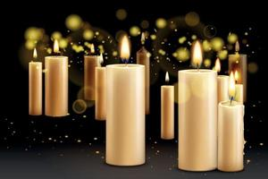 Realistic Candles Background Composition vector