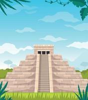 dibujos animados de monumento de la civilización maya vector