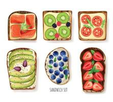 Toast Bread Toppings Set vector