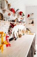 Christmas kitchen interior design side view photo
