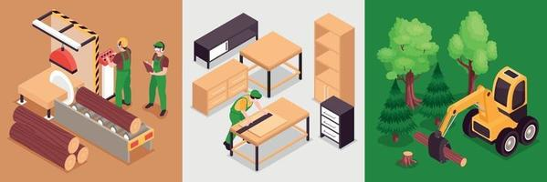 Woodworking Isometric Design Concept vector