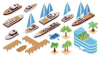 Isometric Yacht Club Set vector