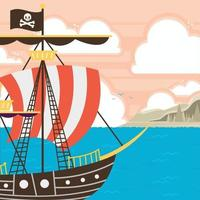 Pirate Ship On The Sea Background vector