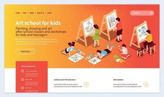 Kids Art School Website vector