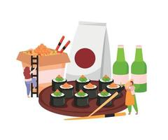 Sushi Flat Colored Composition vector