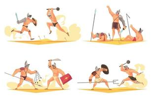 Ancient Gladiator Compositions vector