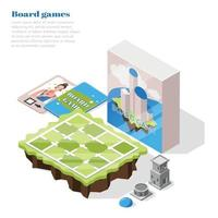 Board Games Isometric Background vector