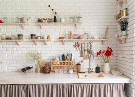 Rustic kitchen interior design front view photo