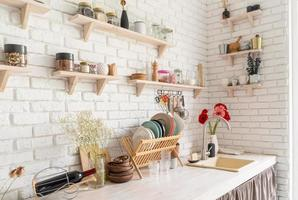 Rustic kitchen interior design, white brick photo