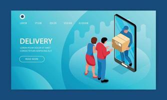 Smartphone Goods Delivery Website vector