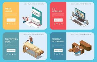 Carpentry Furniture Production Isometric Concept vector