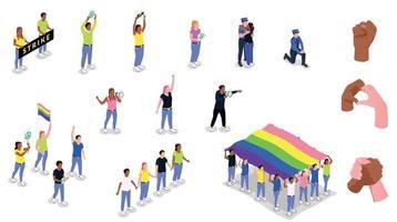 colección de iconos de protesta solidaria vector