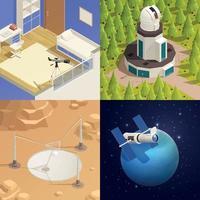 Astronomy Isometric 2x2 Design Concept vector
