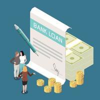 Bank Loan Isometric Composition vector