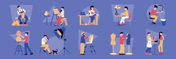 Artist Professions Icons Collection vector