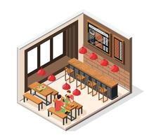 Burger House Interior Composition vector