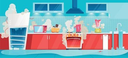 Broken Household Appliances Kitchen Interior Composition vector