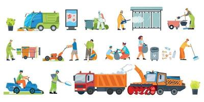 Street Cleaning Icon Set vector