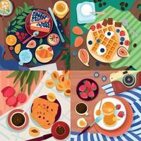 Coloring Food 2x2 Design Concept vector