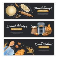 Bread Horizontal Banners Set vector