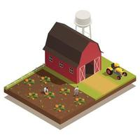 Harvesting Farm Isometric Composition vector