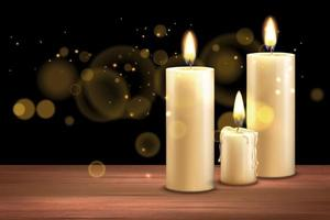 Realistic Candles Magic Background vector