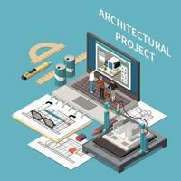 composición isométrica del proyecto arquitectónico vector