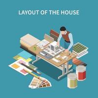 diseño de la casa composición isométrica vector