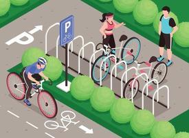 composición isométrica de estacionamiento de bicicletas vector