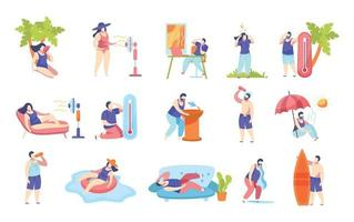 Summertime Heatstroke Flat Icons vector
