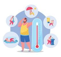 Summertime Heatstroke Background vector