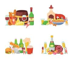 Alcoholic Cocktails Flat Concept vector