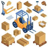 Isometric Warehouse Boxes Set vector