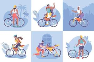 Flat Bike Tourism Composition Icon Set vector