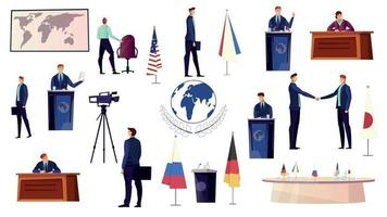 Diplomacy Icons Set vector
