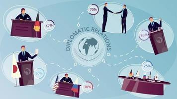 Diplomacy Infographic Set vector