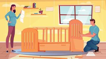 Assembling Furniture Flat Background vector