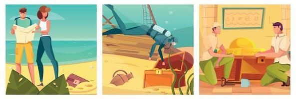 Treasure Hunt And Quest Set vector