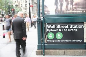 New York, Wall Street subway station entrance photo