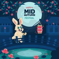 Mid Autumn Festival with Rabbit Carrying Lantern vector