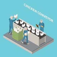 fondo isométrico del transportador de pollo vector