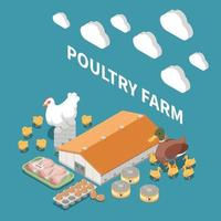 Poultry Farm Isometric Composition vector