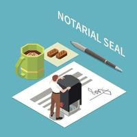 Notary Seal  Isometric Composition vector
