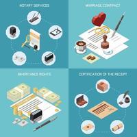 Notary Services 2x2 Design Concept vector