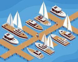 Yacht Isometric Illustration vector