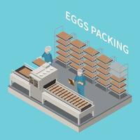 Eggs Packing Isometric Background vector