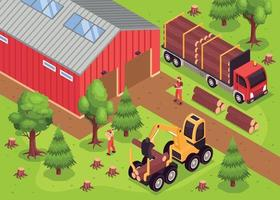 Wooden Sawmill Warehouse Composition vector
