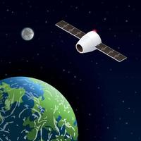 Modern Space Satellite Composition vector