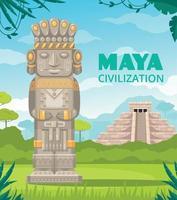 dibujos animados de monumentos de la civilización maya vector